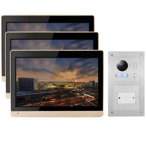 """IP Türklingel mit Kamera mit 3x10"""" LCD für 1-Familienhaus und Unterputz RFID-Außenstation-3IPSET1011R"""