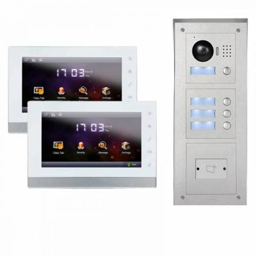 """IP Türklingel mit Kamera für 2-Familienhaus mit Aufputz RFID-Außenstation und 2x7"""" Innenstation-2IPSET04R"""