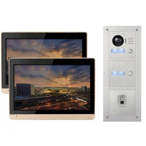 """IP Türklingel mit 2x10"""" LCD und Unterputz-Außenstation mit Fingerprint"""