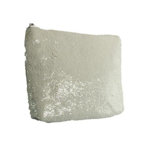 XYXYX  Sequins Clutch   Pailletten - weiss   silber weiß, 1