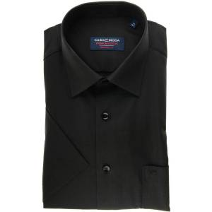 Casa Moda Comfort Fit Hemd Kurzarm schwarz, Einfarbig