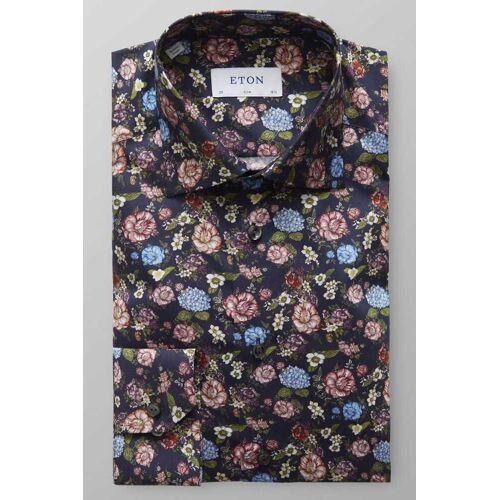 ETON Slim Fit Hemd navy, Blumen
