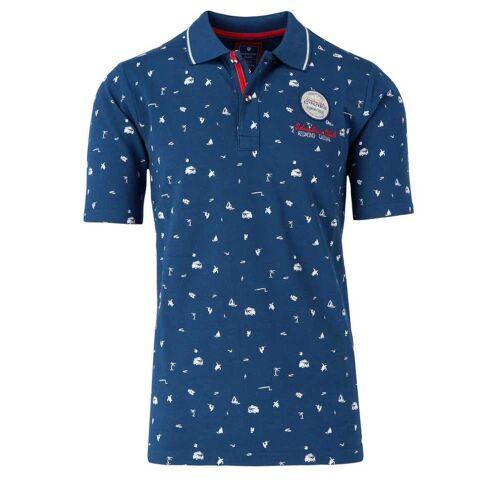 Redmond Regular Fit Poloshirt Kurzarm blau, Gemustert