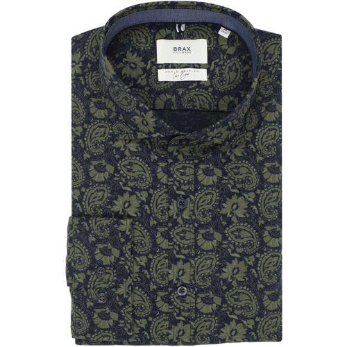 Brax Modern Fit Hemd oliv, Gemustert