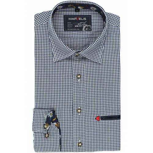 Marvelis Casual Modern Fit Trachtenhemd marine/weiss, Kariert M