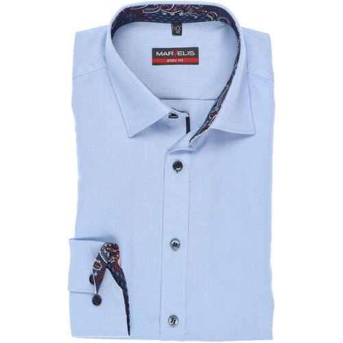 Marvelis Body Fit Hemd bleu, Faux-uni