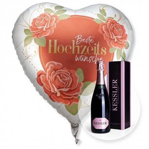 Valentins Riesenballon Beste Hochzeitswünsche und Kessler Rose Sekt