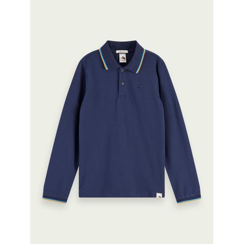 Scotch & Soda Langärmliges Piqué-Poloshirt aus Baumwolle Blau Herren 16Scotch & Soda Langärmliges Piqué-Poloshirt aus Baumwolle