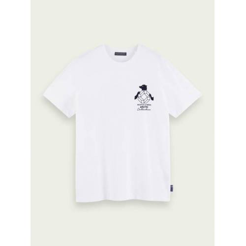 Scotch & Soda T-Shirt mit Beflockung aus 100% Baumwolle Weiß Herren MScotch & Soda T-Shirt mit Beflockung aus 100% Baumwolle