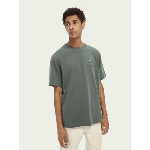 Scotch & Soda Mondphasen-T-Shirt aus 100% Baumwolle Grün Herren MScotch & Soda Mondphasen-T-Shirt aus 100% Baumwolle