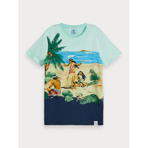 Scotch & Soda T-Shirt mit landschaftlichem Hawaii-Print Blau Herren 6Scotch & Soda T-Shirt mit landschaftlichem Hawaii-Print