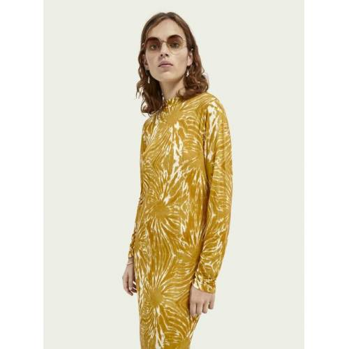 Scotch & Soda Langärmliges Kleid mit Print Gelb Damen MScotch & Soda Langärmliges Kleid mit Print