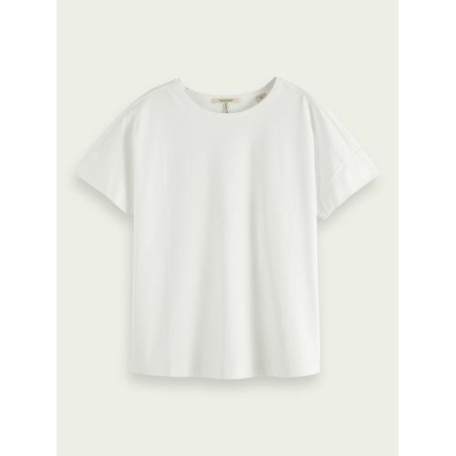 Scotch & Soda Merzerisiertes Baumwoll-T-Shirt Weiß Damen LScotch & Soda Merzerisiertes Baumwoll-T-Shirt