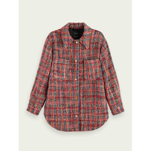 Scotch & Soda Wool-blend tweed shirt jacket Rot Damen XLScotch & Soda Wool-blend tweed shirt jacket