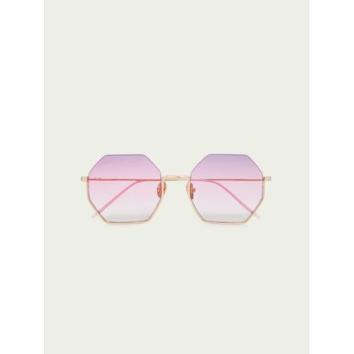 Scotch & Soda Miami– Achteckige Sonnenbrille Shiny Gold/Pink Damen OSScotch & Soda Miami– Achteckige Sonnenbrille