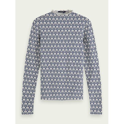 Scotch & Soda Hochgeschlossenes T-Shirt mit Print Blau Damen SScotch & Soda Hochgeschlossenes T-Shirt mit Print
