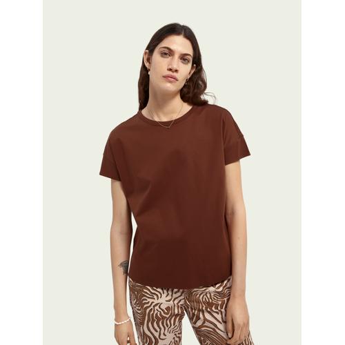 Scotch & Soda Merzerisiertes Basic-T-Shirt Braun Damen SScotch & Soda Merzerisiertes Basic-T-Shirt