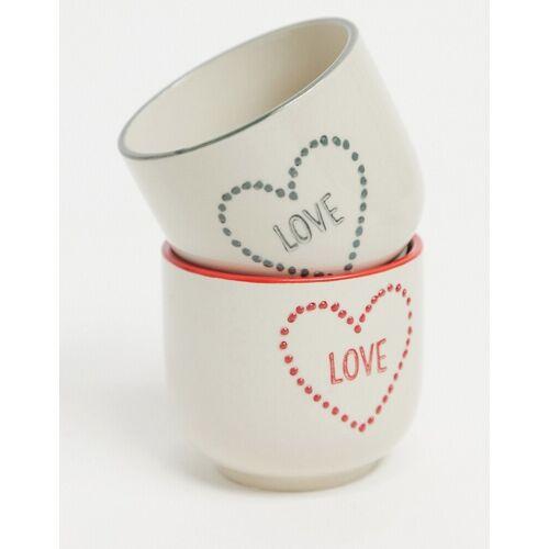 Sass & Belle – 2er-Set kleine Blumentöpfe mit Herzdesign-Weiß No Size