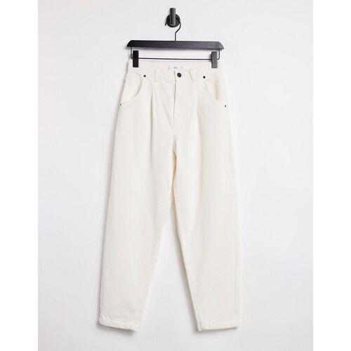 Mango – Lockere Cord-Hose in Ecru-Weiß 42