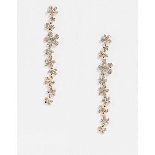 Nali – Lange Ohrringe mit Kristallblumendesign-Silber No Size