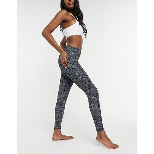 Onzie – Yoga-Leggings mit hohem Bund und grauem Ripple-Print XL