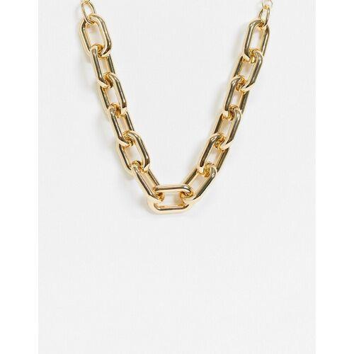 Pieces – Breite Glieder-Halskette in goldfarben One Size