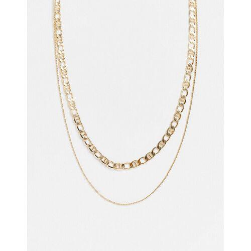 Pieces – Doppel-Halskette mit verschiedenen Designs in Gold One Size