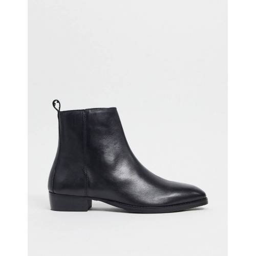Topman – Kubanische Stiefel aus schwarzem Leder 44