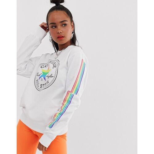 Converse – Pride – Sweatshirt in Weiß mit Regenbogendesign