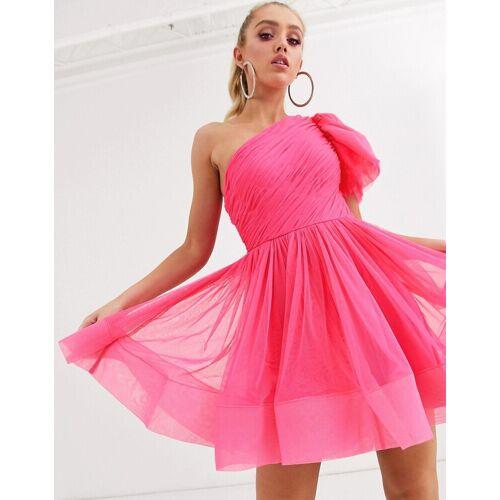 Lace & Beads – Mini-Ballkleid mit Ballonärmel in Neonrosa