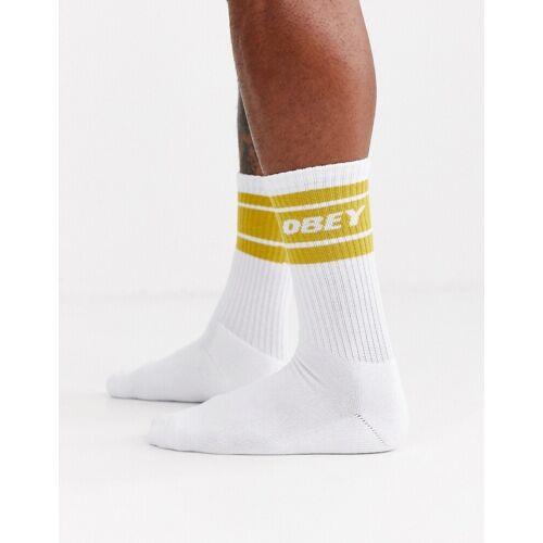 Obey – Cooper II – Socken in Weiß und Gelb