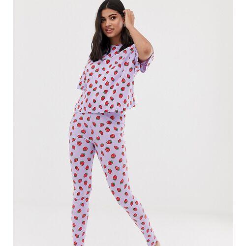 ASOS DESIGN – Pyjama-Set mit Leggings und Erdbeer-Design