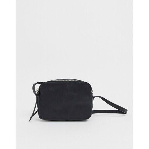 ASOS DESIGN – Kamera-Umhängetasche aus Leder-Schwarz no size