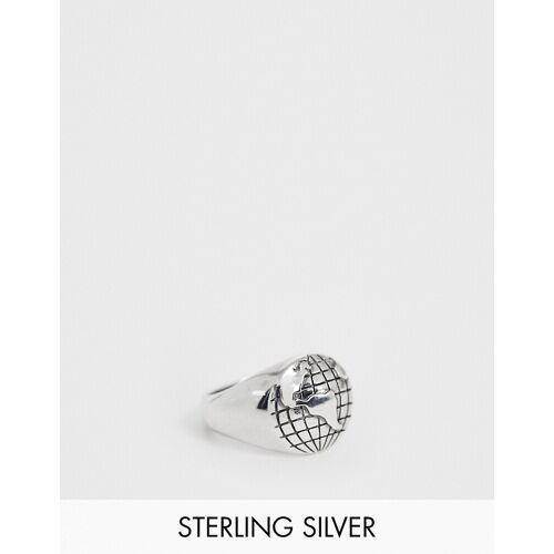 ASOS DESIGN – Ring aus Sterlingsilber mit Globusdesign M