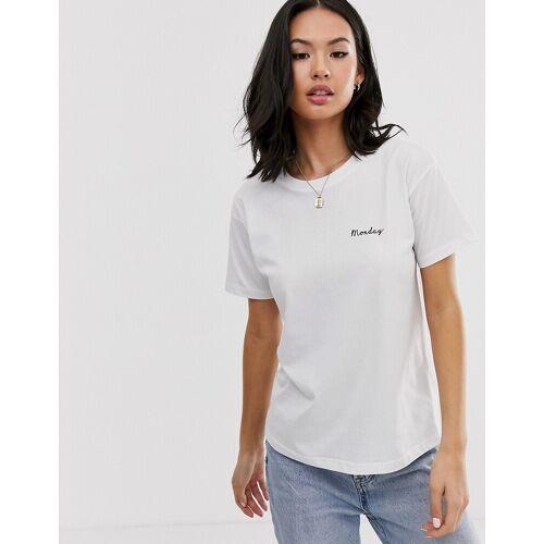 ASOS DESIGN – T-Shirt mit Wochentagen-Weiß 42