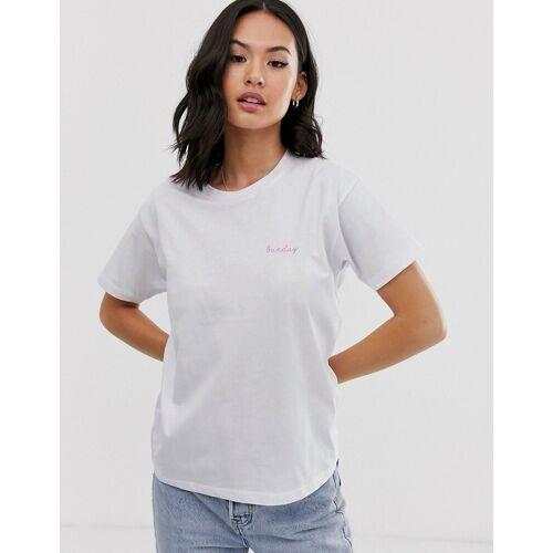 ASOS DESIGN – T-Shirt mit Wochentagen-Weiß 36