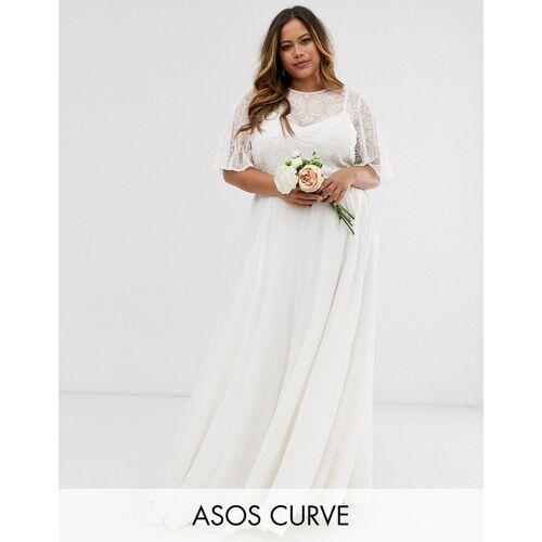 ASOS EDITION Curve – Hochzeitskleid mit verziertem Oberteil-Weiß