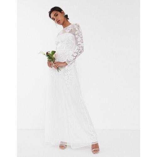 ASOS EDITION – Hochzeitskleid mit Netzstoff und Blumenstickerei-Weiß 42