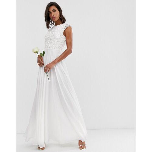 ASOS EDITION – Hochzeitskleid mit verziertem Oberteil-Weiß