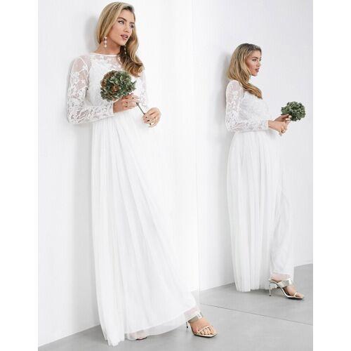 ASOS EDITION – Maxi-Hochzeitskleid mit Stickerei am Oberteil-Weiß