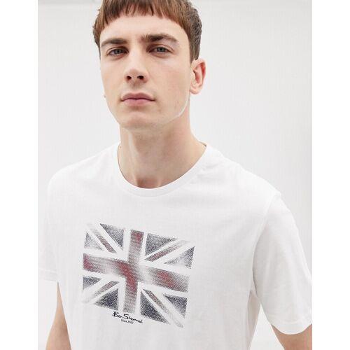 Ben Sherman – T-Shirt mit Flaggenmotiv-Weiß
