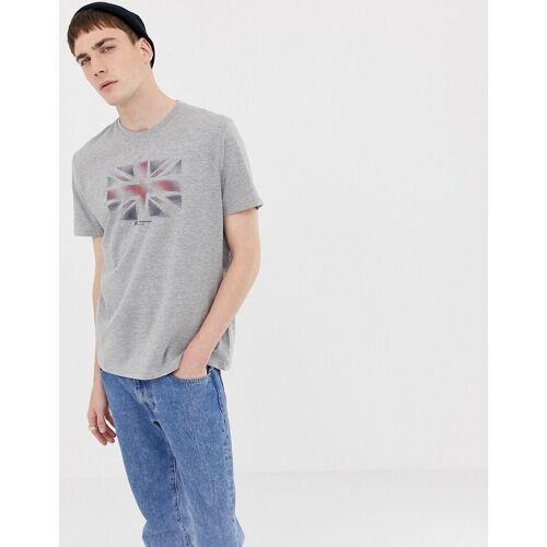 Ben Sherman – T-Shirt mit Flaggenmotiv-Grau