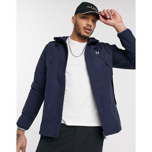 Fred Perry – Marineblaue Jacke mit Reißverschluss und Stoffbahnen-Navy L