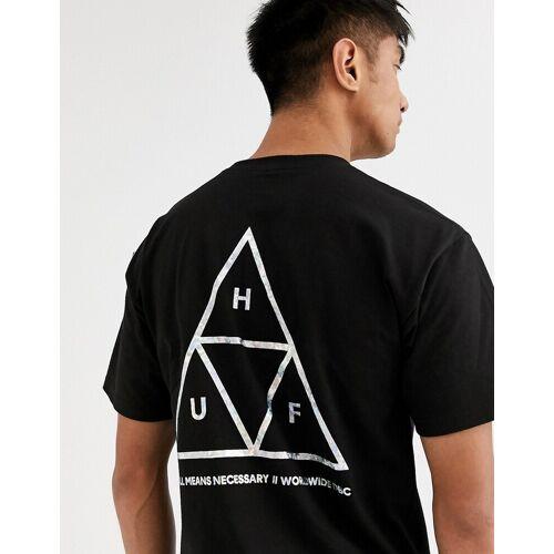 HUF – Hologram – T-Shirt in Schwarz mit Hologrammdruck auf dem Rücken XL