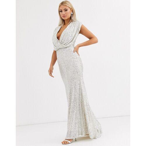 Jarlo –Silbernes Abendkleid mit Wickeldesign und Pailletten