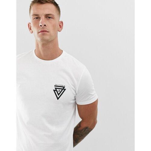 New Look – Cali – T-Shirt mit dreieckigem Print in Weiß XL