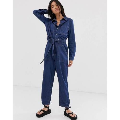 Only – Utility-Jumpsuit aus Denim-Blau 42