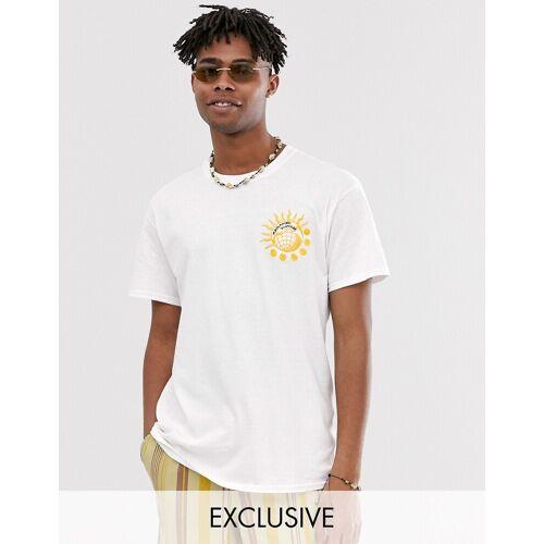 Reclaimed Vintage – T-Shirt mit Sonnen- und Globus-Stickerei-Weiß L