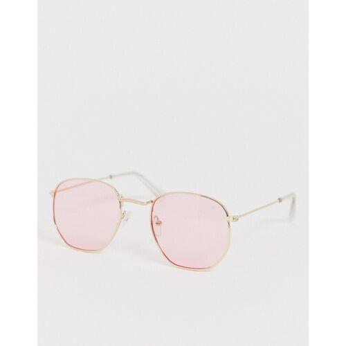 7X SVNX – Sechseckige Retro-Sonnenbrille-Rosa No Size