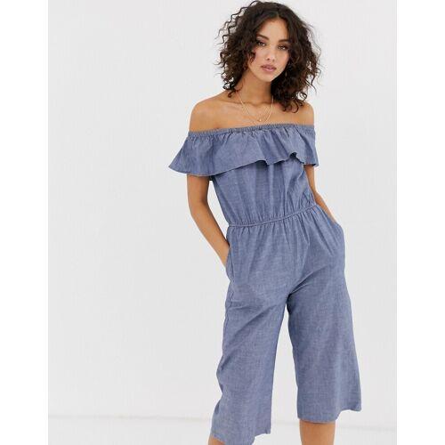 Vero Moda – Schulterfreier Chambray-Jumpsuit-Blau M